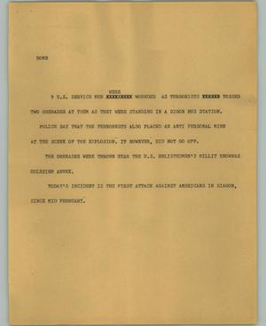 Primary view of object titled '[News Script: Bomb]'.