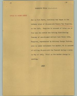 Primary view of object titled '[News Script: Hargrove trial]'.