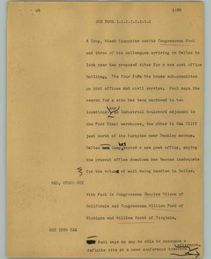 Primary view of object titled '[News Script: Joe Pool]'.