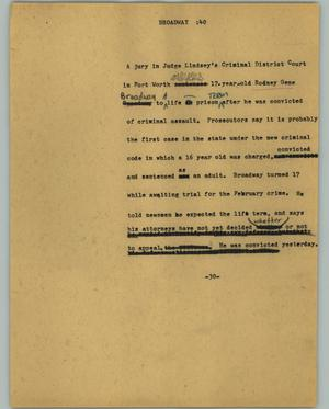 Primary view of object titled '[News Script: Broadway]'.