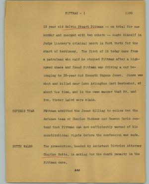 Primary view of object titled '[News Script: Pittman]'.