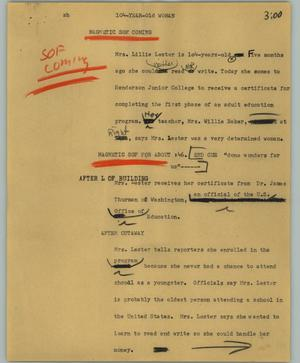 Primary view of object titled '[News Script: 104-year-old woman]'.