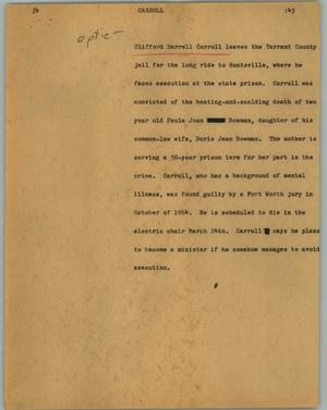 Primary view of object titled '[News Script: Carroll]'.
