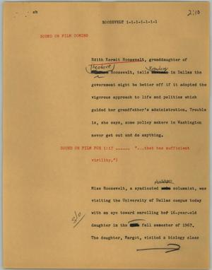 Primary view of object titled '[News Script: Roosevelt]'.