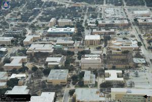 Primary view of object titled '[Aerial of UNT Main Campus]'.