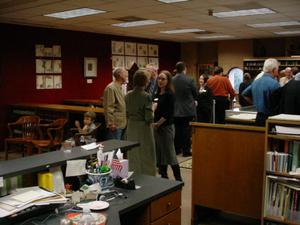 Primary view of object titled '[Guests at the 2007 New Faculty Reception]'.