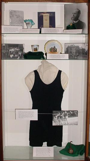 Primary view of object titled '[Black Wool Swimsuit Displayed Treasures of UNT Exhibit]'.