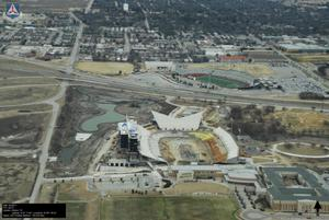 Primary view of object titled '[Aerial of Apogee Stadium Construction]'.