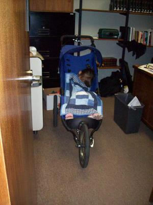 Primary view of object titled '[Child Sleeping in Stroller]'.