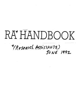 Primary view of object titled 'RA (Research Assistants) Handbook, June 1992'.