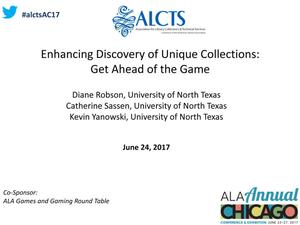 Enhancing Discovery of Unique Collections: Get Ahead of the Game