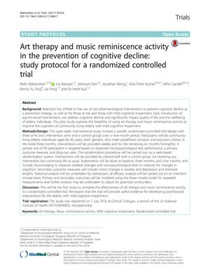 Art therapy and music reminiscence activity in the prevention of cognitive decline: study protocol for a randomized controlled trial