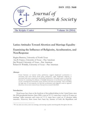Primary view of object titled 'Latino Attitudes Toward Abortion and Marriage Equality: Examining the Influence of Religiosity, Acculturation, and Non-Response'.