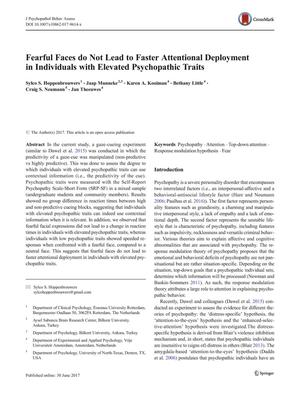 Primary view of object titled 'Fearful Faces do Not Lead to Faster Attentional Deployment in Individuals with Elevated Psychopathic Traits'.