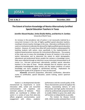 The Extent of Autism Knowledge of Novice Alternatively Certified Special Education Teachers in Texas