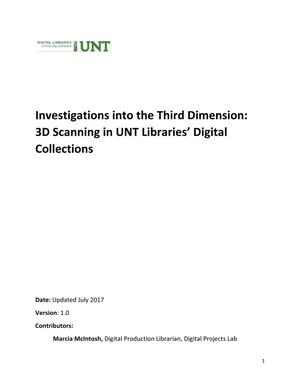Primary view of object titled 'Investigations into the Third Dimension: 3D Scanning in UNT Libraries' Digital Collections'.