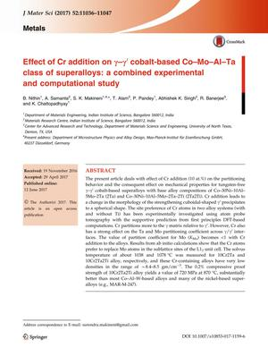 Primary view of object titled 'Effect of Cr addition on γ-γ' cobalt-based Co-Mo-Al-Ta class of superalloys: a combined experimental and computational study'.
