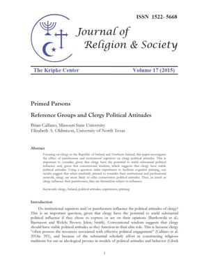 Primary view of object titled 'Primed Parsons; Reference Groups and Clergy Political Attitudes'.