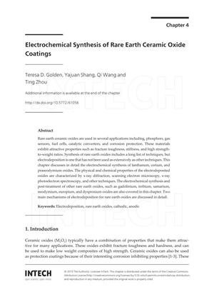 Primary view of object titled 'Electrochemical Synthesis of Rare Earth Ceramic Oxide Coatings'.