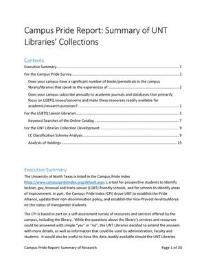 Primary view of object titled 'Campus Pride Report: Summary of UNT Libraries' Collections'.