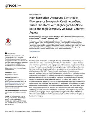 Primary view of object titled 'High-Resolution Ultrasound-Switchable Fluorescence Imaging in Centimeter-Deep Tissue Phantoms with High Signal-To-Noise Ratio and High Sensitivity via Novel Contrast Agents'.