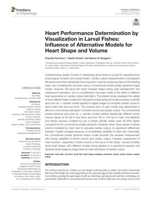 Primary view of object titled 'Heart Performance Determination by Visualization in Larval Fishes: Influence of Alternative Models for Heart Shape and Volume'.