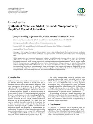 Primary view of object titled 'Synthesis of Nickel and Nickel Hydroxide Nanopowders by Simplified Chemical Reduction'.