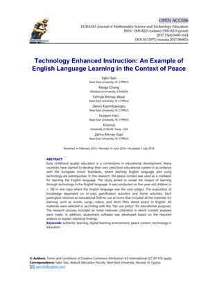 Primary view of object titled 'Technology Enhanced Instruction: An Example of English Language Learning in the Context of Peace'.