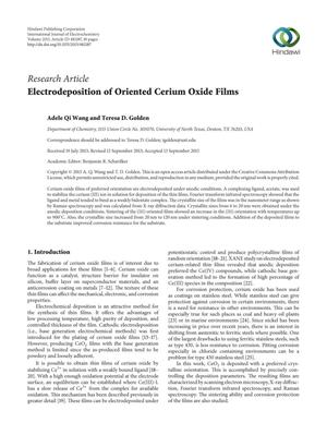 Primary view of object titled 'Electrodeposition of Oriented Cerium Oxide Films'.
