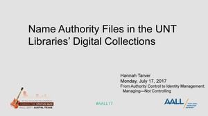Primary view of object titled 'Name Authority Files in the UNT Libraries' Digital Collections'.