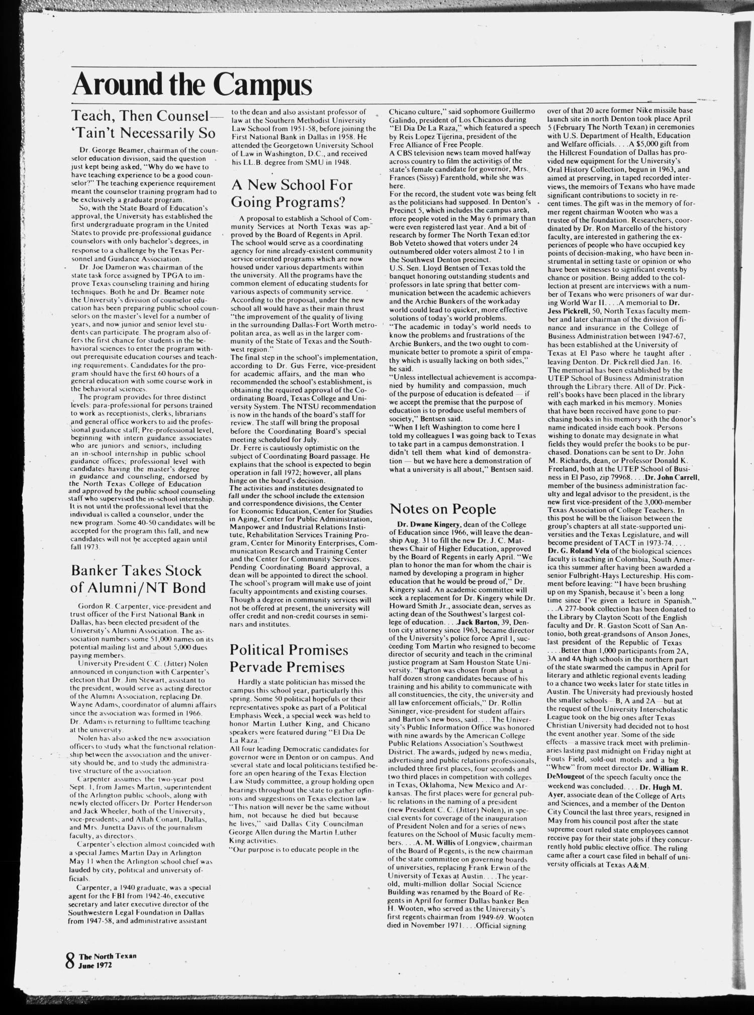 The North Texan, Volume 23, Number 3, June 1972                                                                                                      8