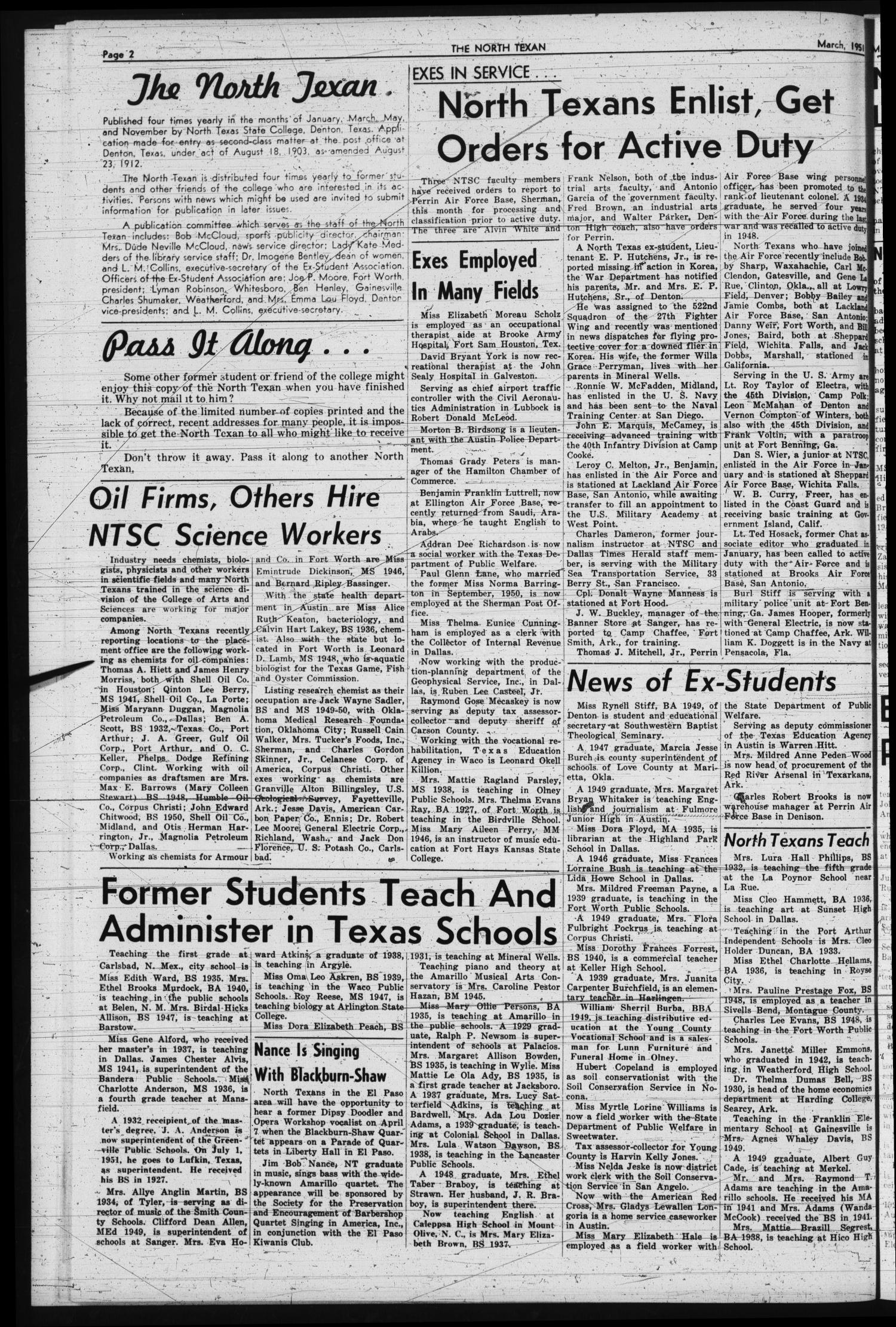 The North Texan, Volume 2, Number 3, March 1951 - Page 2 - Digital ...