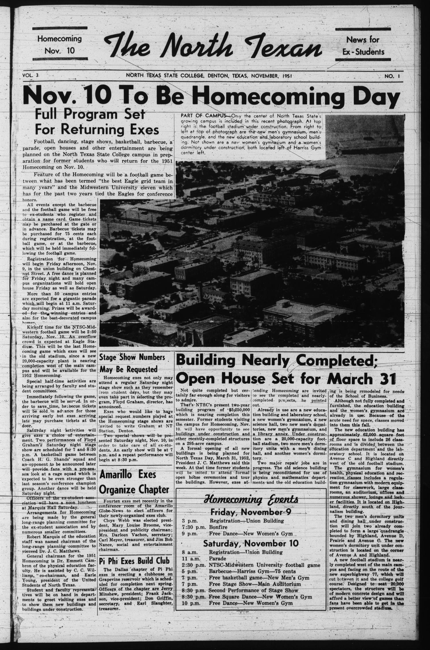 The North Texan, Volume 3, Number 1, November 1951                                                                                                      1