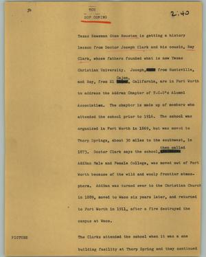 Primary view of object titled '[News Script: TCU]'.