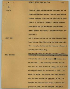 Primary view of object titled '[News Script: Batman]'.