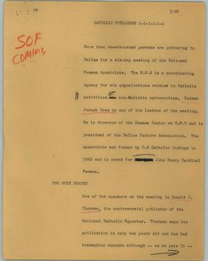 Primary view of object titled '[News Script: Catholic publisher]'.