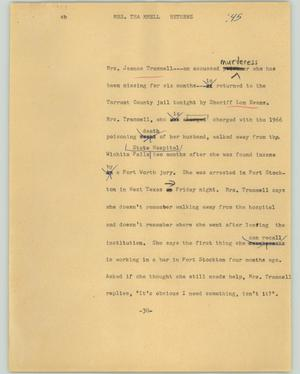 Primary view of object titled '[News Script: Mrs. Trammell returns]'.