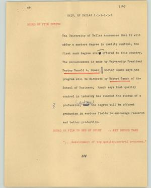 Primary view of object titled '[News Script: Univ. of Dallas]'.