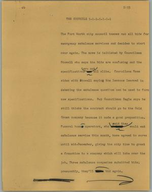 Primary view of object titled '[News Script: The councils]'.
