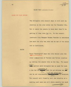 Primary view of object titled '[News Script: Sales tax]'.
