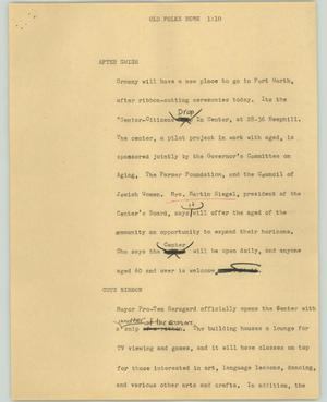 Primary view of object titled '[News Script: Old folks home]'.
