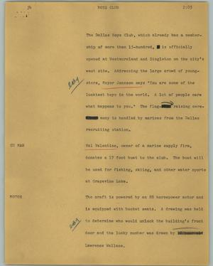 Primary view of object titled '[News Script: Boys Club]'.