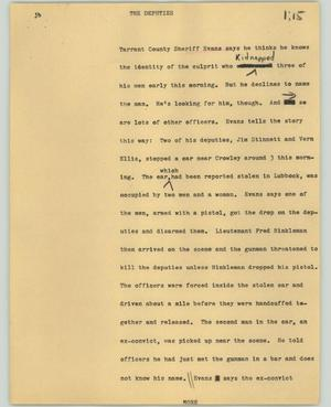 Primary view of object titled '[News Script: The Deputies]'.