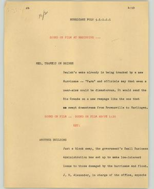 Primary view of object titled '[News Script: Hurricane Folo]'.