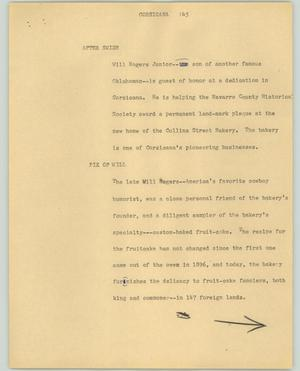 Primary view of object titled '[News Script: Corsicana]'.