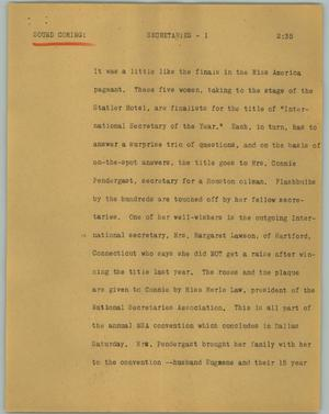 Primary view of object titled '[News Script: Secretaries]'.