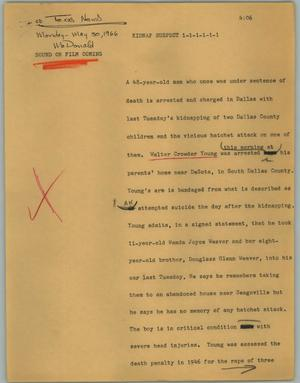 Primary view of object titled '[News Script: Kidnap suspect]'.
