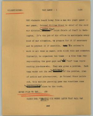 Primary view of object titled '[News Script: War games]'.