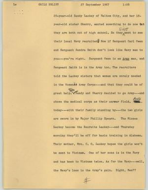 Primary view of object titled '[News Script: Grils Enlist]'.