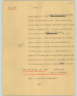 Primary view of object titled '[News Script: Locke]'.